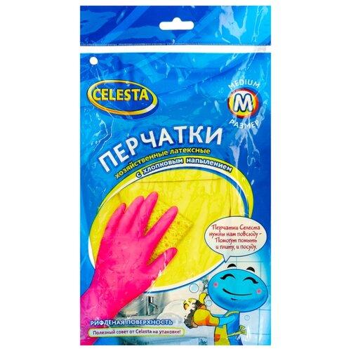 Перчатки Celesta хозяйственные с хлопковым напылением, 1 пара, размер M, цвет желтый перчатки хозяйственные доминго с хлопковым напылением цвет зеленый размер m