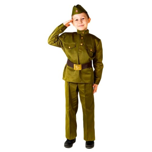 Купить Костюм Бока Военная форма Солдат люкс, зеленый, размер 140-152, Карнавальные костюмы