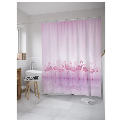 Штора для ванной JoyArty Фламинго в тумане 180х200 (sc-9040) разноцветный