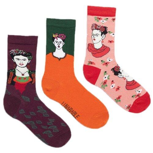 Носки Lunarable Фрида, 3 пары, размер 35-39, бордовый/оранжевый/розовый