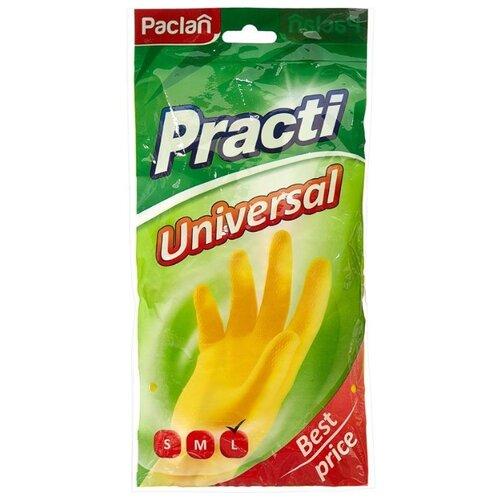 цена Перчатки Paclan Practi Universal, 1 пара, размер L, цвет желтый онлайн в 2017 году