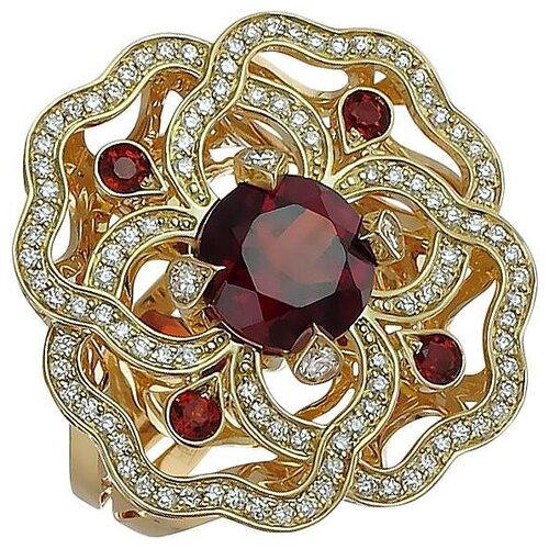 Эстет Кольцо с гранатами и бриллиантами из жёлтого золота 750 пробы 01К647987-2, размер 17 эстет кольцо с лазуритом и бриллиантами из жёлтого золота 01к6313305 2 размер 17