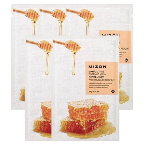Mizon Joyful Time Essence Mask Royal Jelly тканевая маска с экстрактом маточного молочка, 23 г, 5 шт. dermal тканевая маска с коллагеном и экстрактом пчелиного маточного молочка 23 г