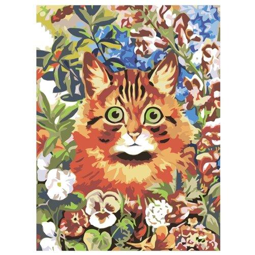 Купить Котик в саду Раскраска картина по номерам на холсте RA009 30х40, Живопись по номерам, Картины по номерам и контурам