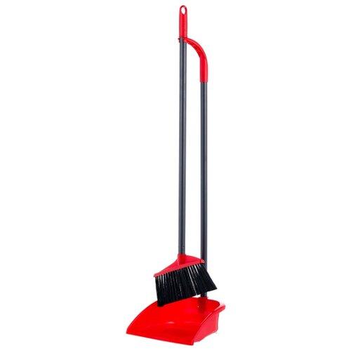 Набор Vileda Совок + щетка на длинной ручке 2 в 1 красный/черный gardman совок садовый на длинной ручке gardener s mate 135 см 94040 gardman