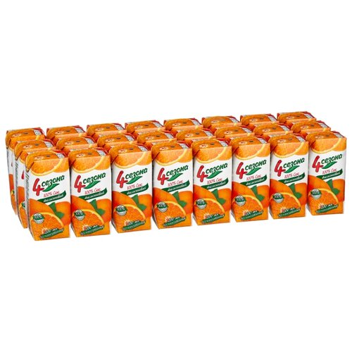 Сок 4 Сезона Апельсин, без сахара, 0.2 л, 24 шт. сок santal апельсин без сахара 0 2 л 24 шт