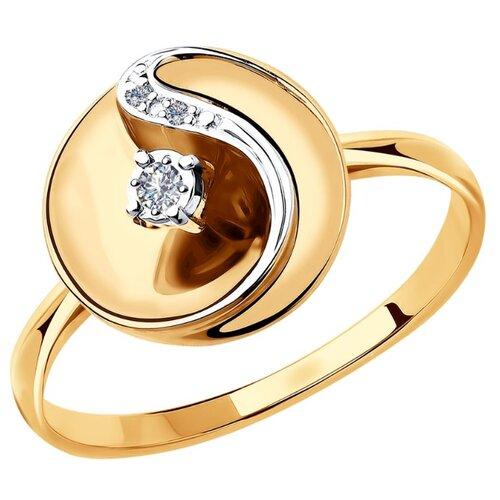 SOKOLOV Кольцо из комбинированного золота с бриллиантами 1011876, размер 18