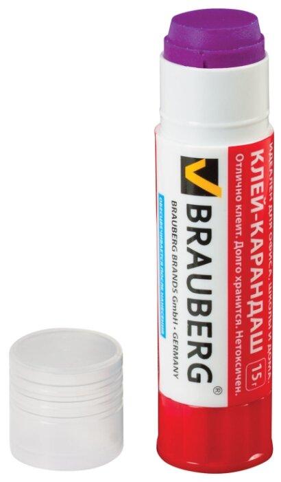 Клей-карандаш BRAUBERG - 15 г - Обесцвечивающийся - Цветной - 220874