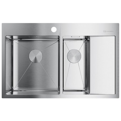 Фото - Врезная кухонная мойка 78 см OMOIKIRI Akisame 78-2-IN-L 4973062 нержавеющая сталь врезная кухонная мойка 65 см omoikiri akisame 65 in r нержавеющая сталь