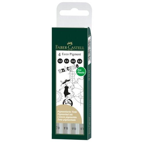 Faber-Castell набор капиллярных ручек Ecco Pigment, черный цвет, 4 шт., 0,2 мм, 0,4 мм, 0,6 мм, 0,8 мм (167004), черный цвет чернил faber castell ручка капиллярная ecco pigment 0 7 мм цвет чернил черный