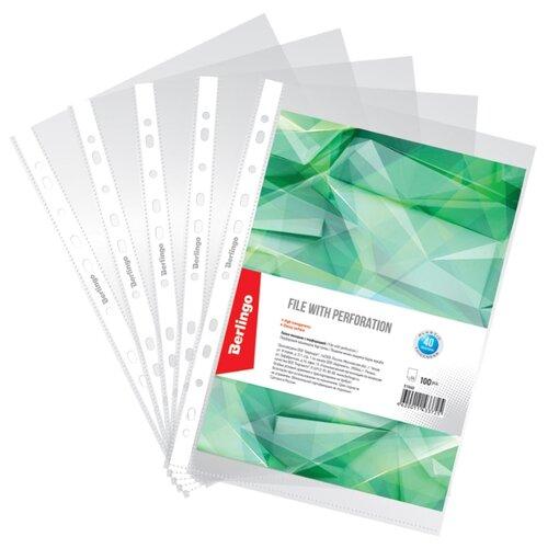 Купить Berlingo Папка-вкладыш А4 с перфорацией, 40 мкм, глянцевая, пластик, 100 штук в упаковке бесцветный, Файлы и папки
