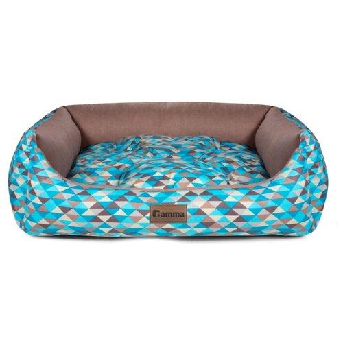 Лежак для собак и кошек Гамма Мозаика прямоугольная мини 42х40х15 см синий/коричневый