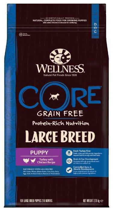 Корм для щенков Wellness Core Large breed индейка, курица с картофелем 10 кг (для крупных пород)