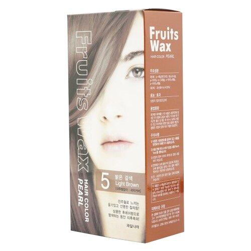 Купить Welcos стойкая крем-краска для волос Fruits Wax Pearl Hair Color, 5 light brown