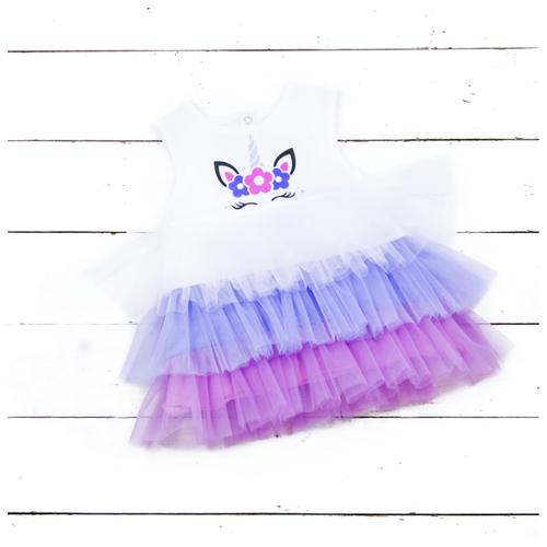 Платье АЛИСА размер 92, молочный/сиреневый/фиолетовый