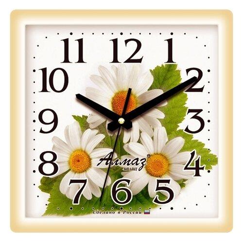 Часы настенные кварцевые Алмаз M53 бежевый/белый часы настенные кварцевые алмаз p04 p10 бежевый белый