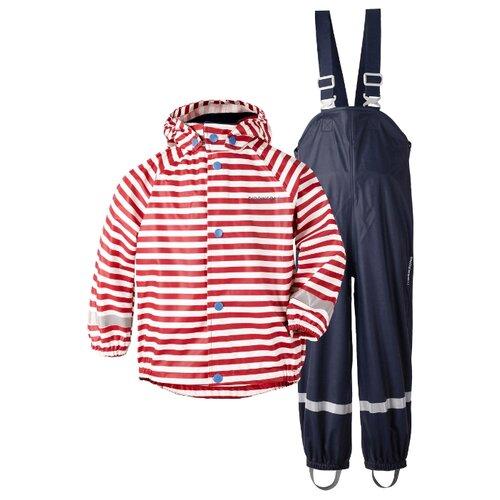 Купить Комплект с полукомбинезоном Didriksons Slaskeman printed 502369 размер 130, 946 красная полоска, Комплекты верхней одежды