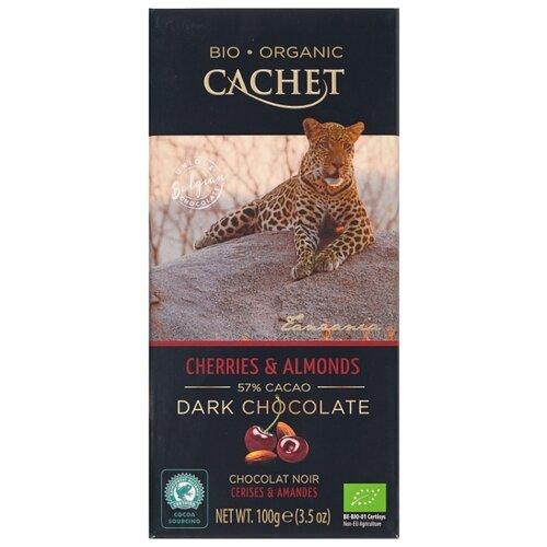 шоколад cachet organic органический горький 57% с абрикосом и лесным орехом 100 г Шоколад Cachet горький c миндалем и вишней, 57%, 100 г