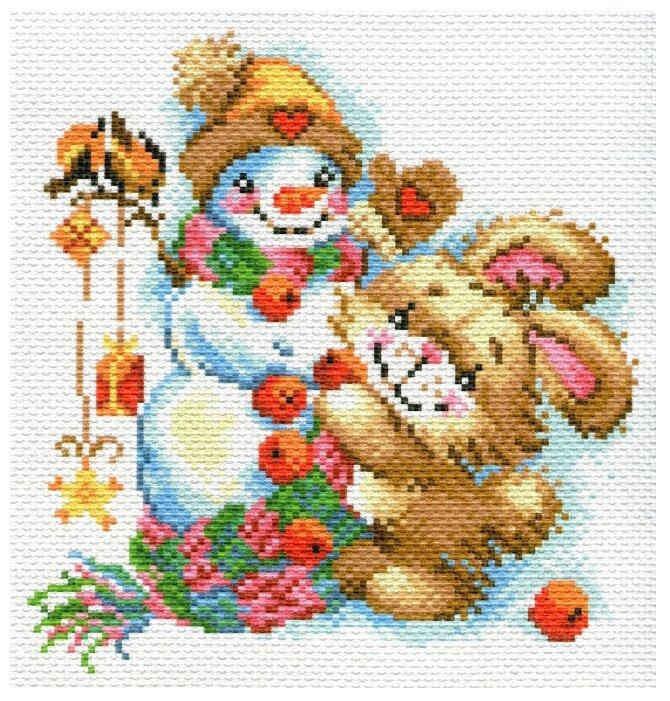 Канва для вышивания с рисунком Матрёнин Посад Веселая зима вышивка нитками 1779-1 28 х 37 см