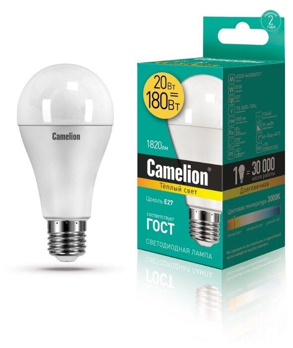 Cветодиодная лампа Camelion ЛОН A65 E27 20W (1820lm 270°) 3000K 2K матов. 134x65 LED20-A65/830/E27 13164