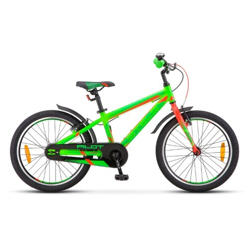 """Подростковый горный (MTB) велосипед STELS Pilot 250 Gent 20 V010 (2020) неоновый зеленый/неоновый красный 11"""" (требует финальной сборки)"""