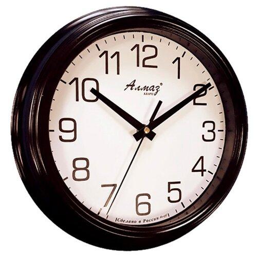 Часы настенные кварцевые Алмаз C02 черный/белый часы настенные кварцевые алмаз h01 белый черный