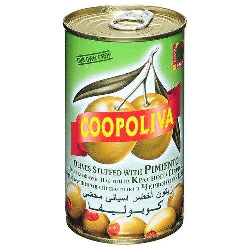 Coopoliva Оливки с красным перцем в рассоле, жестяная банка 350 г acorsa оливки фаршированные анчоусом жестяная банка 350 г