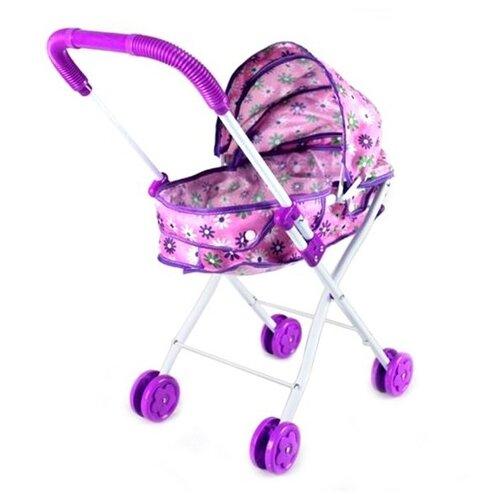 Купить Коляска-люлька Наша игрушка Хризантема M7502-4 фиолетовый/розовый, Коляски для кукол