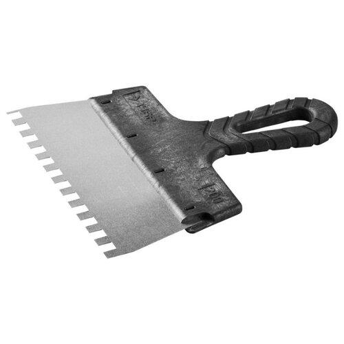 Фото - Шпатель зубчатый ЗУБР 10078-20-08 200 мм черный шпатель фасадный зубр 10077 20 200 мм черный