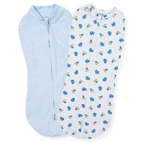 Купить Конверты для пеленания новорожденных на молнии SwaddlePod голубой/белый с динозаврами и машинками Dino Trucks (2 шт.), Summer Infant, Конверты и спальные мешки