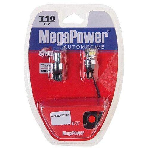 Фото - Лампа автомобильная светодиодная MegaPower 10112W-2блт W5W (T10) 12V 10W 2 шт. 2pcs t10 w5w 80w cree xqb chip led hid