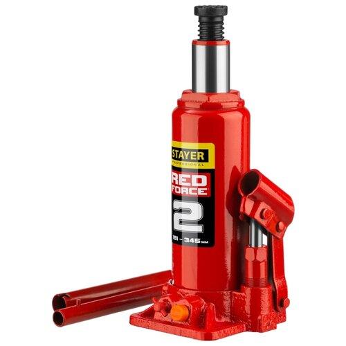 Домкрат бутылочный гидравлический STAYER Red Force 43160-2_z01 (2 т) красный