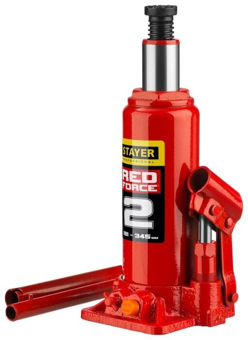 Домкрат бутылочный гидравлический STAYER Red Force 43160-2_z01 (2 т)