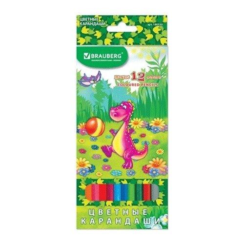 Купить BRAUBERG Карандаши цветные Динозаврик - футболист, 12 цветов (180530), Цветные карандаши