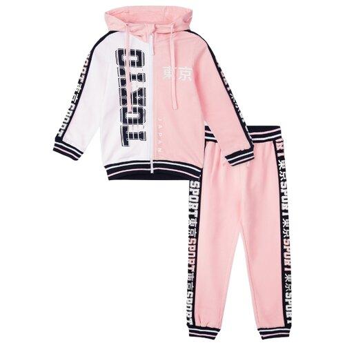 Спортивный костюм playToday размер 104, светло-розовый/белый/темно-синий