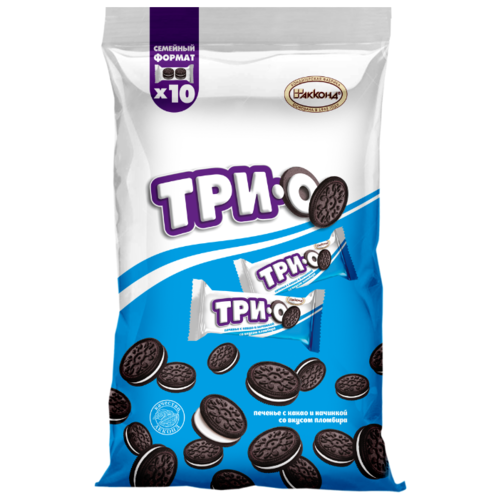 Печенье АККОНД Трио какао с начинкой со вкусом Пломбира 460 г