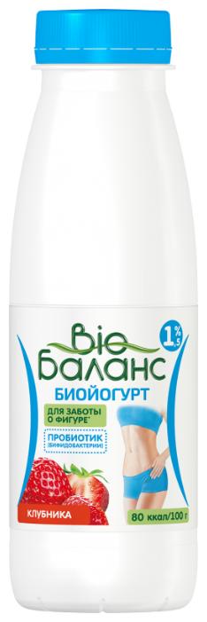 Питьевой йогурт Био Баланс с бифидобактериями Клубника 1.5%, 330 г