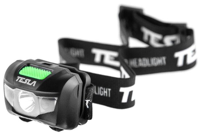 Купить Налобный фонарь Tesla HL2 черно-зеленый по низкой цене с доставкой из Яндекс.Маркета (бывший Беру)