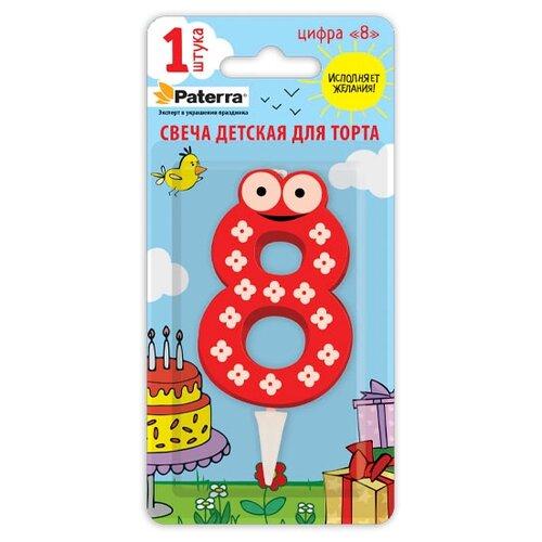 Paterra Свеча для торта Детская, цифра 8 красный