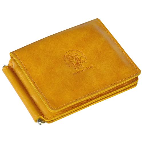 Фото - Кошелек с зажимом для денег и карт из натуральной кожи ОК-4-А табачно-желтый Apache портмоне кошелек для документов и денег вояж табачно желтое apache