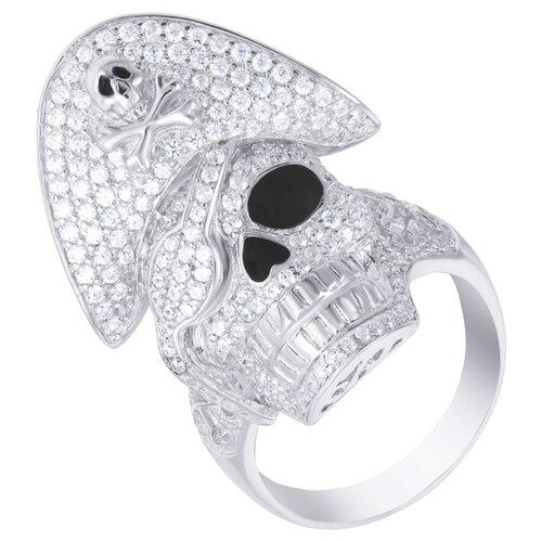 ELEMENT47 Кольцо из серебра 925 пробы с кубическим цирконием и эмалью F-352R-W_001_WG, размер 18
