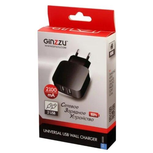 Сетевая зарядка Ginzzu GA-3008B, черный автомобильная зарядка ginzzu ga 4615ub черный