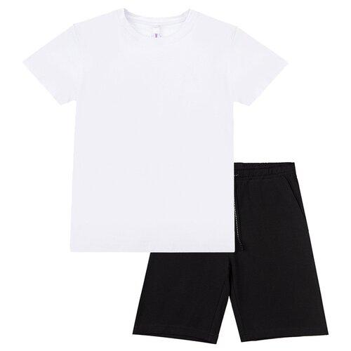 Купить Спортивный костюм playToday размер 140, белый/черный, Спортивные костюмы