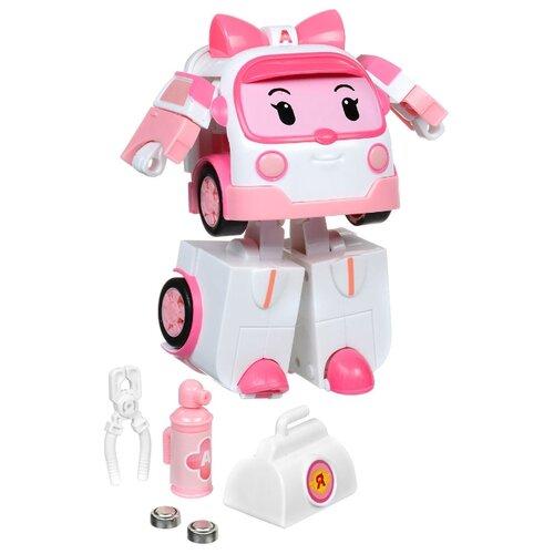 Трансформер Silverlit Robocar Poli Эмбер 12,5 см с подсветкой и аксессуарами розовый/белый