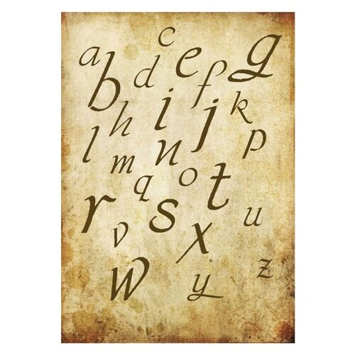 Купить Бумага рисовая мини - формат Алфавит 21 х 29, 7 см (A4) 1 лист, Stamperia, Карты, салфетки, бумага
