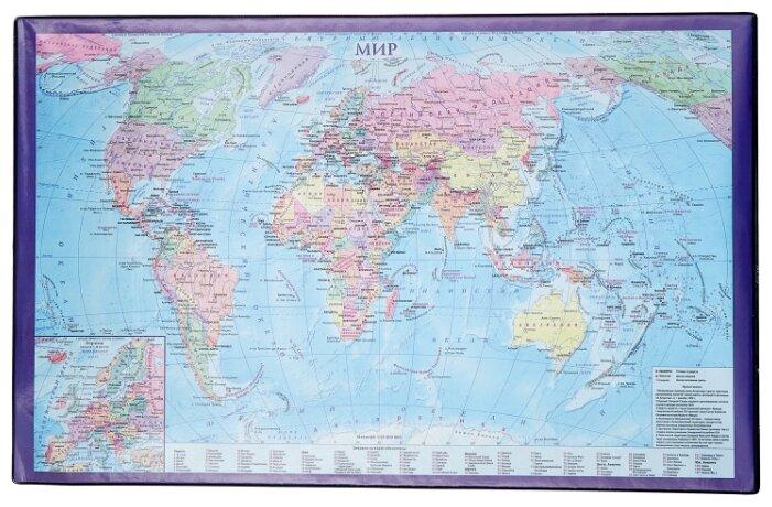 Настольное покрытие BRAUBERG 236777 с картой мира