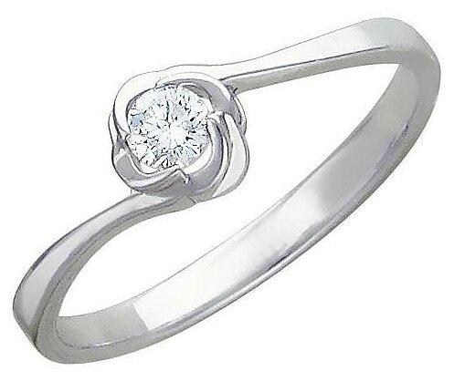 Эстет Кольцо с 1 фианитом из серебра 01К155759 — купить по выгодной цене на Яндекс.Маркете