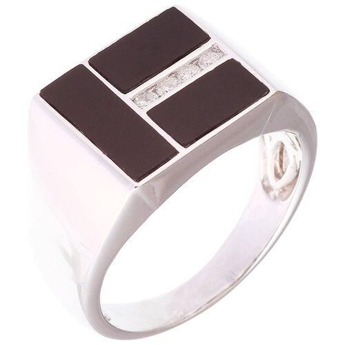 JV Кольцо из белого золота 585 пробы с ониксом и бриллиантами LA5023R-W-BO-10-OX-WG, размер 19.75