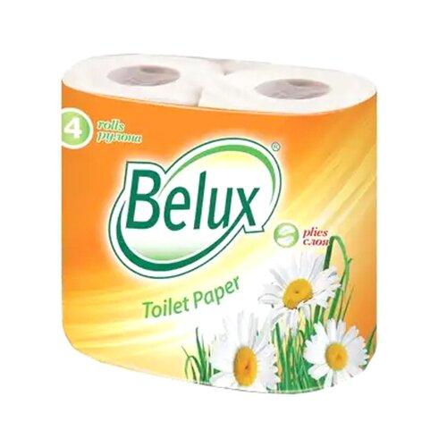 Туалетная бумага Belux белая двухслойная 4 рул. полотенца кухонные belux 200 шт