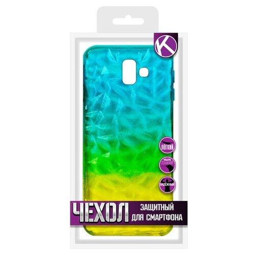 Krutoff / Накладка силиконовая Crystal Krutoff для Samsung Galaxy J6+ (Самсунг Галакси Джей6+) желто-синяя